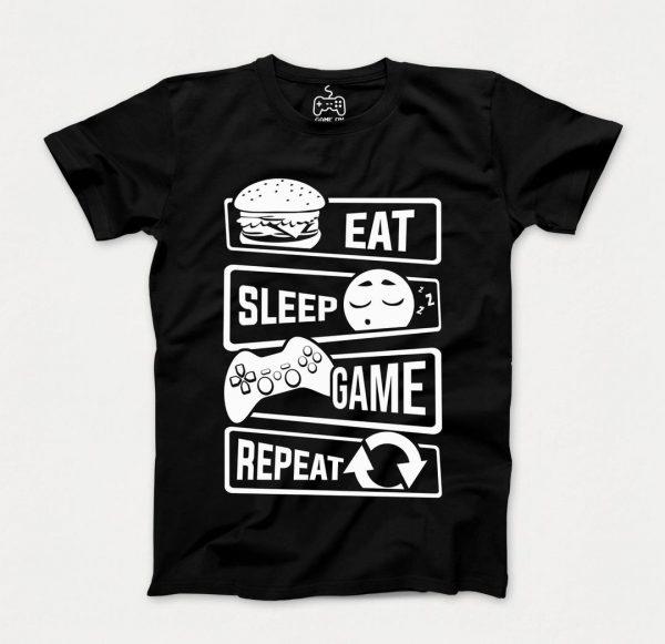 خرید تیشرت Eat Sleep Game | مشکی